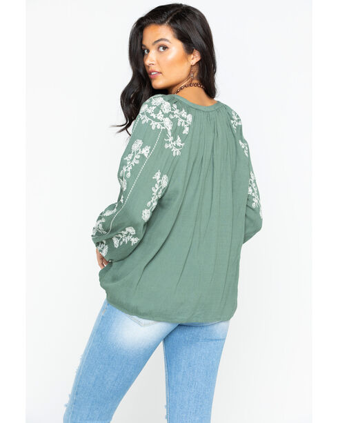 Miss Me Women's Olive Ego Trip Peasant Top , Green, hi-res