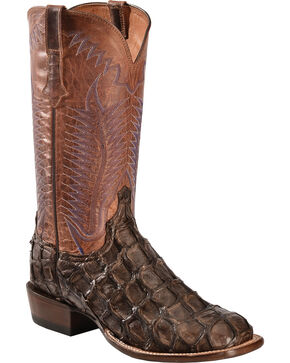 Lucchese Chocolate Brown Brooks Pirarucu Cowboy Boots - Square Toe , Chocolate, hi-res
