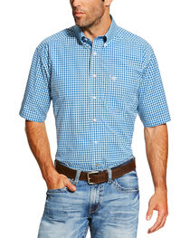 Ariat Men's Blue Mankins Short Sleeve Shirt - Big and Tall , , hi-res
