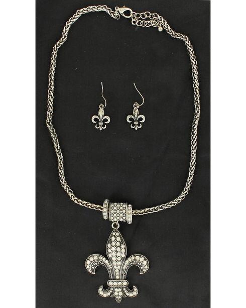Blazin Roxx Rhinestone Fleur De Lis Necklace & Earrings Set, Silver, hi-res