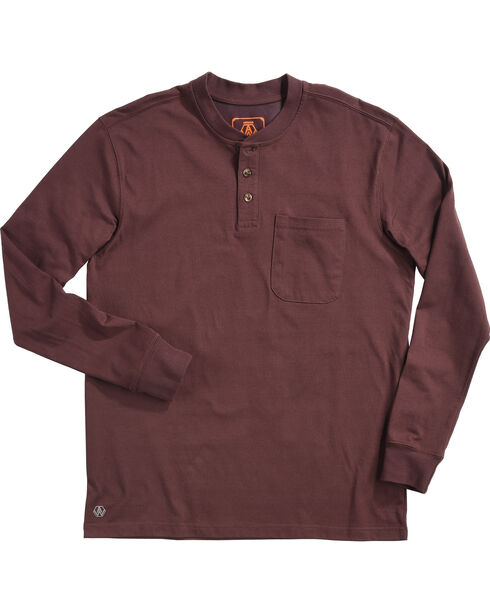 American Worker Men's Mason Pocket Henley Shirt - Tall, Burgundy, hi-res