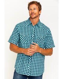 Ryan Michael Men's Aqua Gingham Short Sleeve Shirt , , hi-res