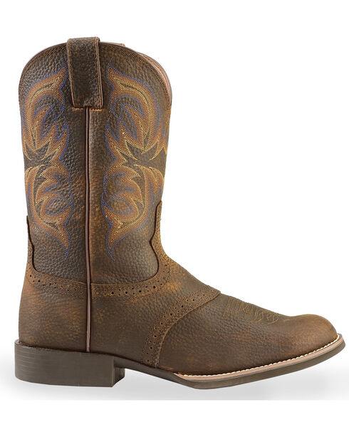 "Justin Men's 11"" Stampede Cattleman Western Boots, Dark Brown, hi-res"