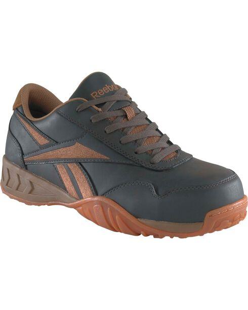 Reebok Men's Bema Work Shoes - Composition Toe, Brown, hi-res