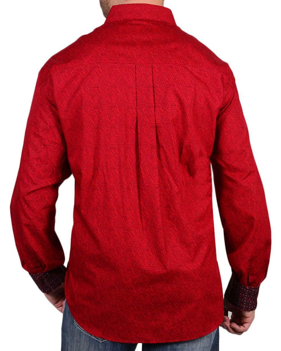 Cody James Core Men's Barrel Man Print Long Sleeve Shirt, Red, hi-res