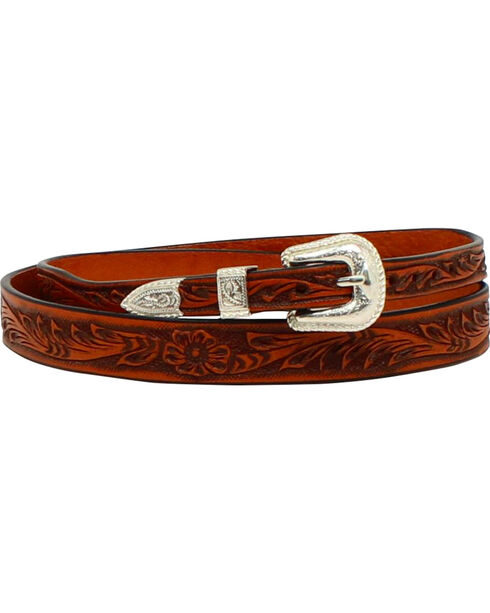 M & F Western Men's Tooled Leather Hatband, Tan, hi-res