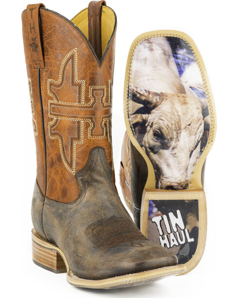 Tin Haul Men's Go Balls Out Western Boots, Brown, hi-res