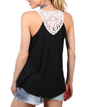 Shyanne Women's Ribbed and Lace Accent Tank, Black, hi-res