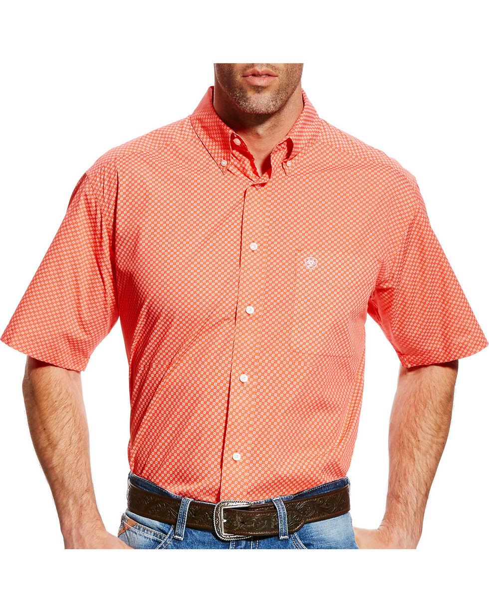 Ariat Men's Fanning Print Short Sleeve Shirt , Coral, hi-res