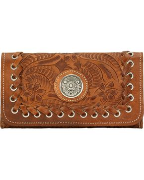 American West Women's Harvest Moon Wallet, Saddle Tan, hi-res