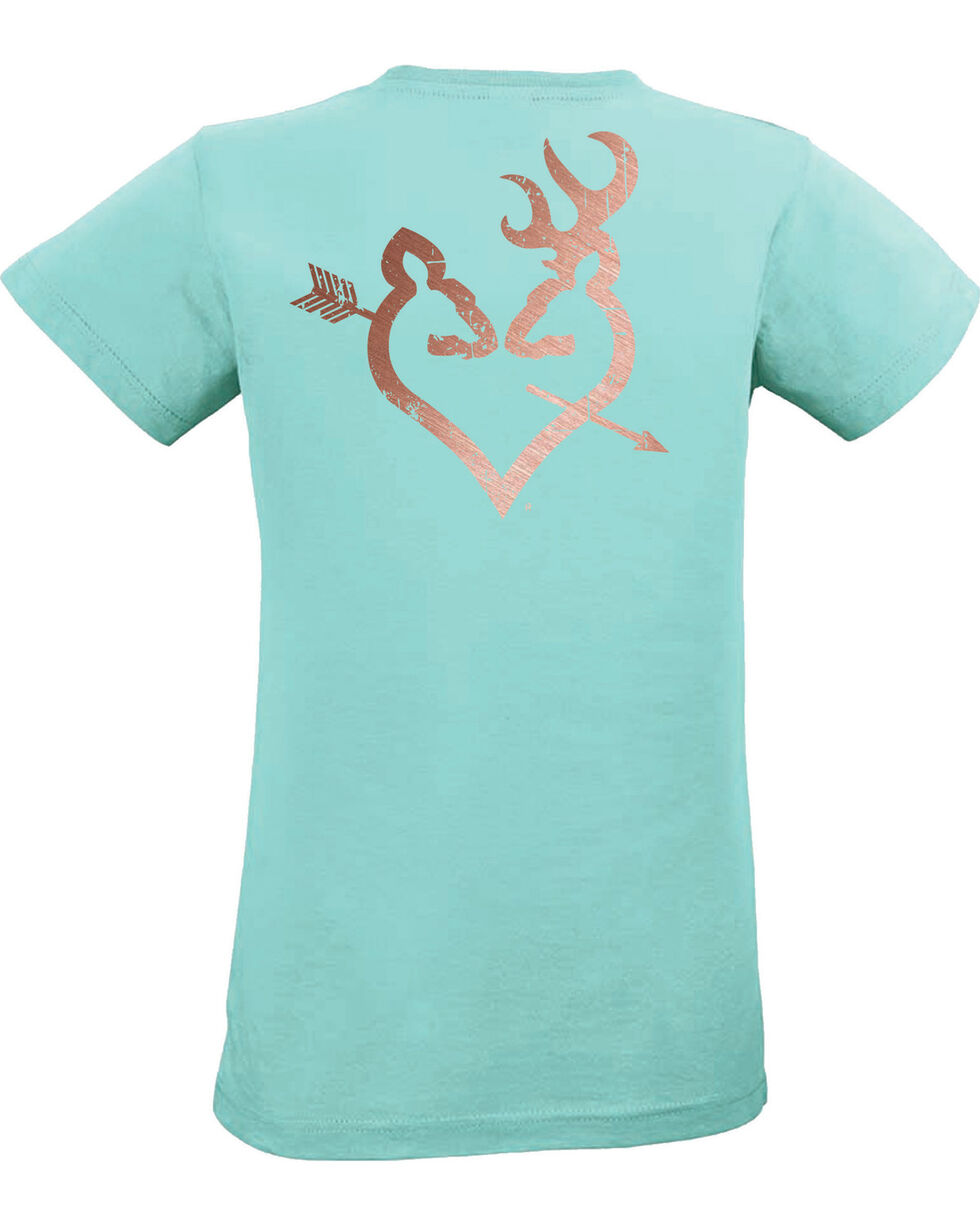 Browning Women's Teal Rose Gold Arrow Buckheart Tee , Teal, hi-res
