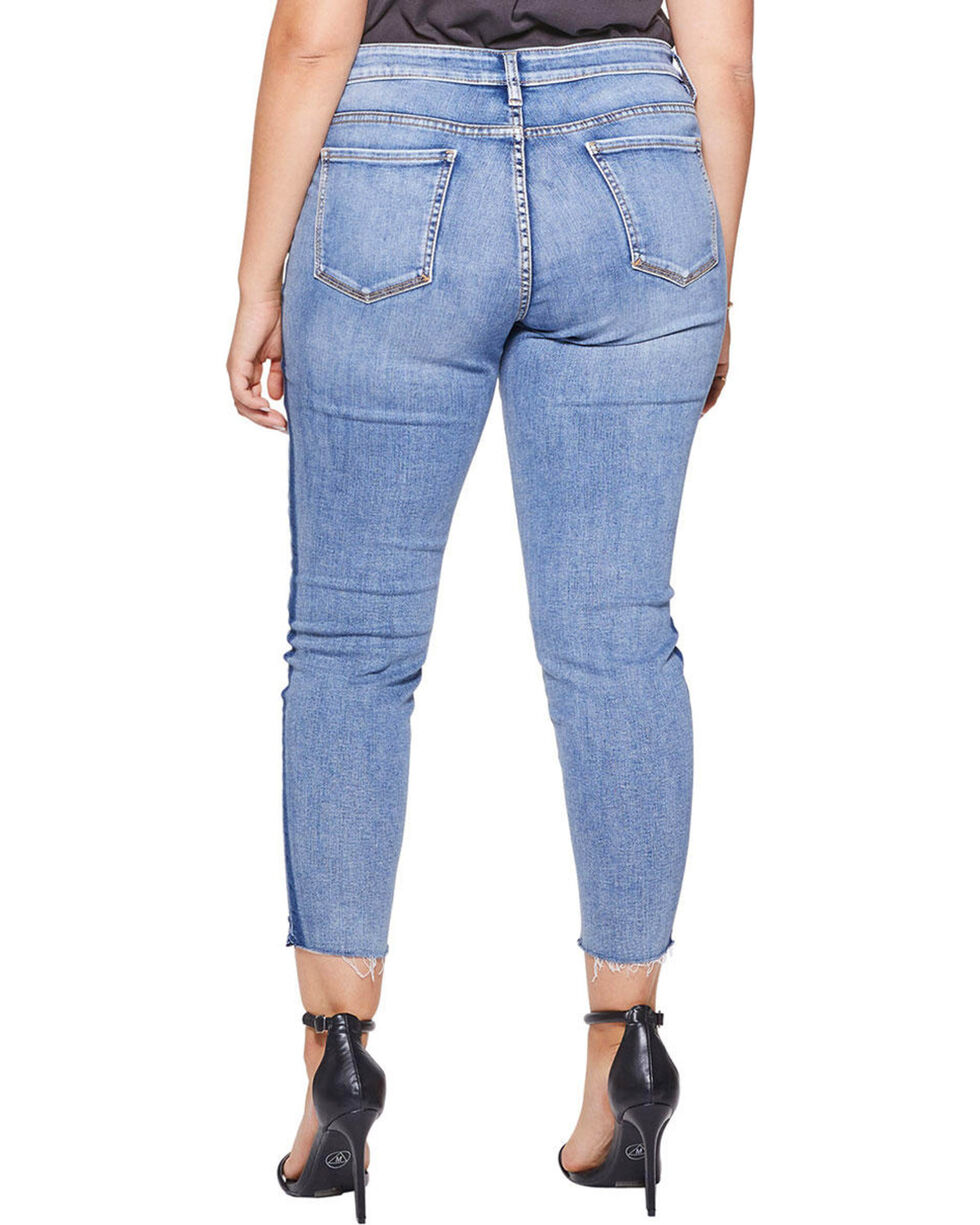 Silver Women's Aiko Tuxedo Stripe Ankle Skinny Jeans - Plus, Indigo, hi-res