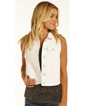 Rock & Roll Cowgirl Women's White Wash Denim Vest , White, hi-res