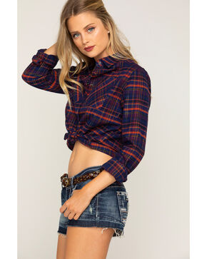 Shyanne® Women's Lurex Cropped Plaid Flannel, Navy, hi-res