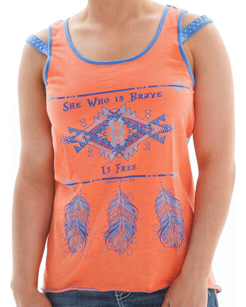 Cowgirl Tuff Women's Sheer Back Tank, Coral, hi-res