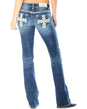 Grace in LA Women's Cross Embellishment Jeans - Boot Cut , Indigo, hi-res