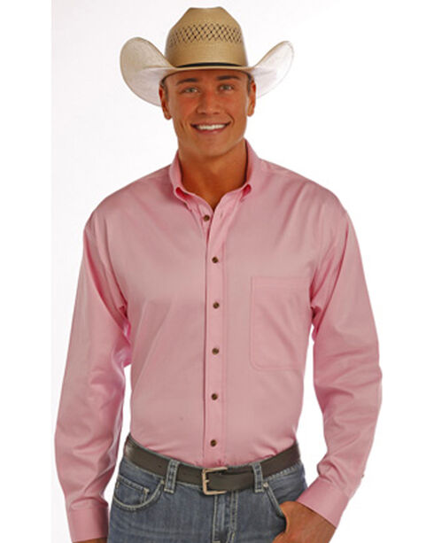 Panhandle Slim Men's Pink Solid Twill Shirt, Pink, hi-res