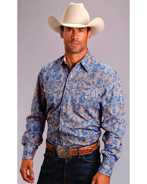 Stetson Men's Blue Paisley Long Sleeve Snap Shirt, Blue, hi-res