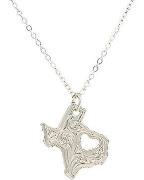 Montana Silversmiths I Heart Texas Necklace, Silver, hi-res