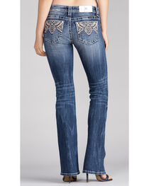 Miss Me Women's Embroidered Pocket Boot Cut Jeans, , hi-res
