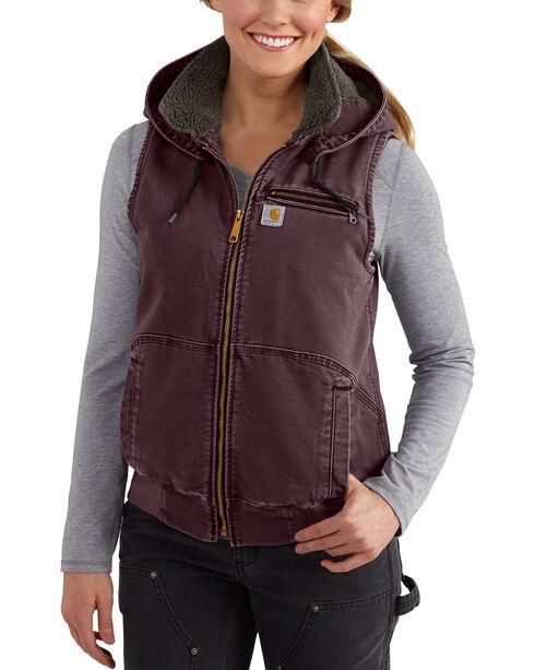 Carhartt Women's Weathered Duck Wildwood Vest, Wine, hi-res