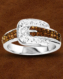 Kelly Herd Buckle Ring with Swarovski Crystals , , hi-res