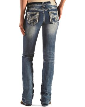 Grace in LA Women's Plus Size Zigzag Embroidered Straight Leg Jeans, Denim, hi-res