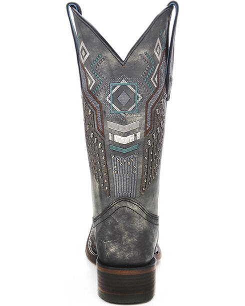 Corral Women's Metallic Ethnic Pattern and Studded Western Boots, Black, hi-res