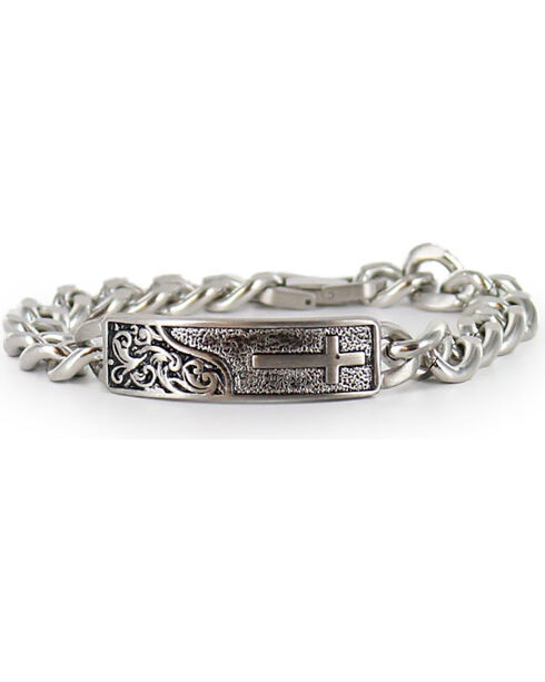 Cody James® Men's Silver Cross Bracelet , Silver, hi-res
