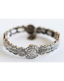 West & Co. Women's Burnished Silver Aztec Thunderbird Stretch Bracelet, , hi-res
