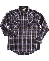 Ely Cattleman Men's Black Textured Plaid Western Shirt , , hi-res