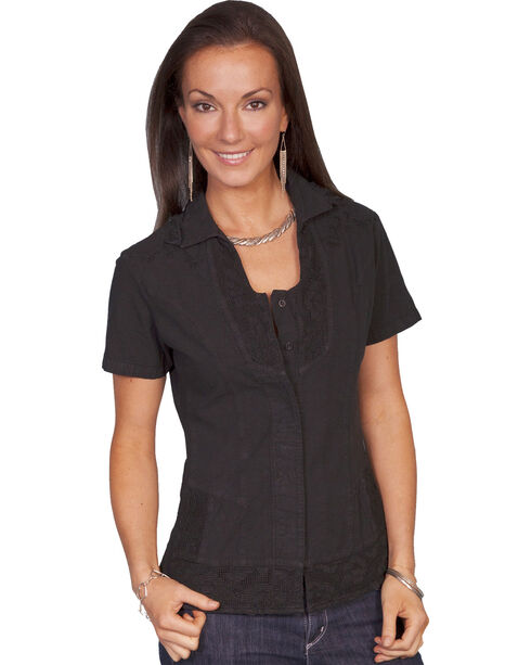 Scully Button Front Short Sleeve Top, Black, hi-res