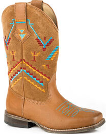 Roper Girls' Aztec Embroidery Cowgirl Boots - Square Toe, , hi-res