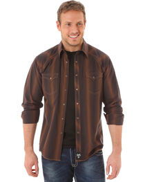 Rock 47 by Wrangler Men's Striped Western Shirt, Brown, hi-res