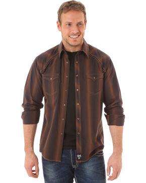 Rock 47 by Wrangler Men's Striped Western Shirt, Brown, hi-res