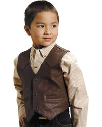 Roper Boys' Western Nappa Leather Vest, , hi-res