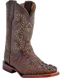 Ferrini Boys' Caiman Print Western Boots - Square Toe, , hi-res