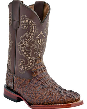 Ferrini Boys' Caiman Print Western Boots - Square Toe, Chocolate, hi-res