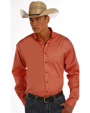 Panhandle Slim Men's Peach Solid Twill Shirt, Peach, hi-res