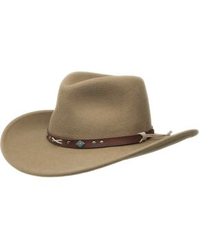 Black Creek Crushable Wool Felt Hat, Putty, hi-res