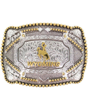 Cody James®  Men's Wyoming Belt Buckle, Silver, hi-res