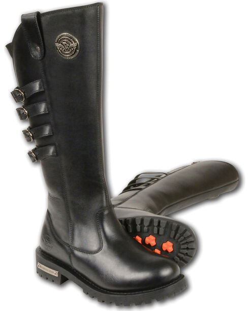 """Milwaukee Leather Women's 15"""" High Rise Leather Riding Boots - Round Toe, Black, hi-res"""