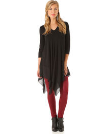 Wrangler Women's Black 3/4 Sleeves Tunic , , hi-res