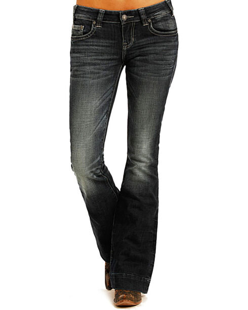 Rock & Roll Cowgirl Women's Dark Wash Low Rise Trouser Jeans, Blue, hi-res