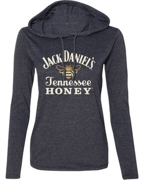 Jack Daniel's Women's Tennessee Honey Hooded Long Sleeve Shirt, Heather Grey, hi-res