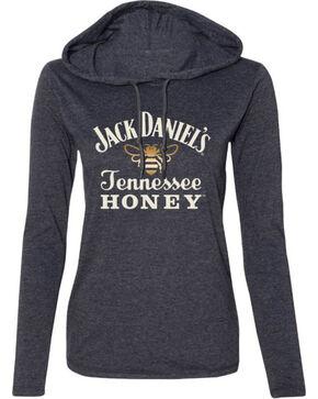 Jack Daniel's Women's Tennessee Honey Hooded Long Sleeve Shirt, Heather Grey, hi-res