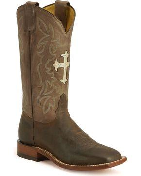 Tony Lama Women's San Saba Cross Western Boots, Chocolate, hi-res