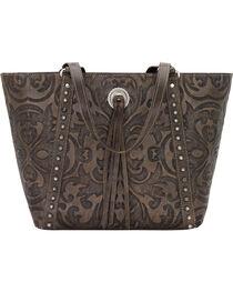 American West Charcoal Brown Baroque Zip Top Bucket Tote , , hi-res