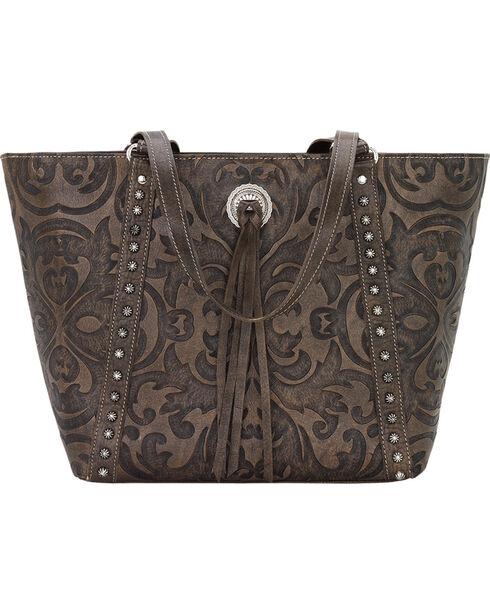 American West Charcoal Brown Baroque Zip Top Bucket Tote , Brown, hi-res