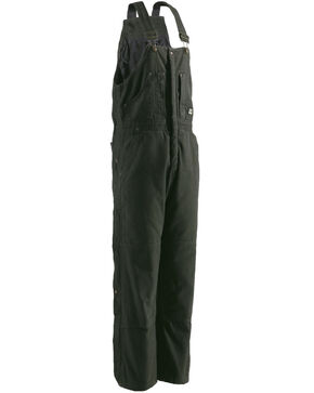 Berne Bark Original Washed Insulated Bib Overalls - 1XShort, Olive Green, hi-res